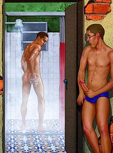 Espiando o irmão no chuveiro